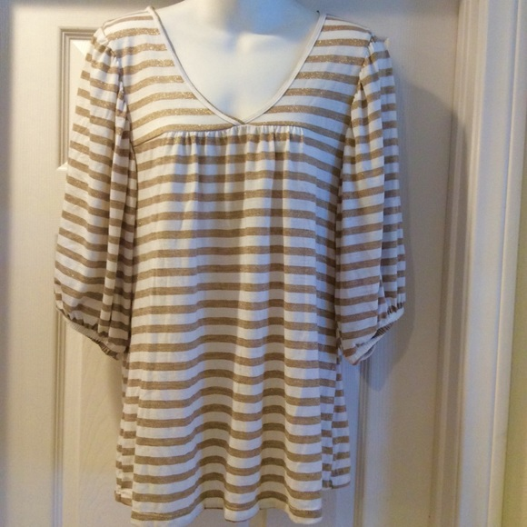 cha cha vente Tops - Cha Cha Vente Gold Stripe Top Blouse Size Large
